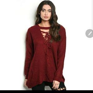 Tantalyzn Apparel Burgundy Lace-Up Sweater